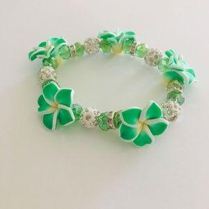 Tropical Green Hawaiian Plumeria Bracelet